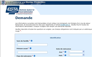 Site officiel de la demande d'ESTA